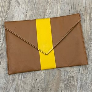 J. Crew Clutch Brown and Yellow Leather